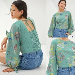 Anthropologie Maeve Embroidered Blouse Size L $138
